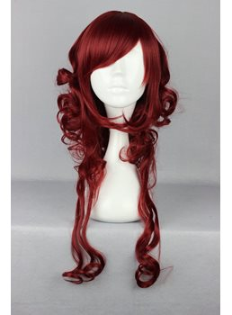 Japanese Lolita Style Long Wave Dark Red Color Cosplay Wigs 26 Inches