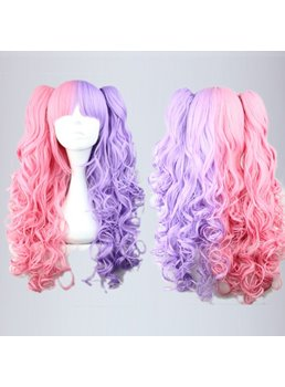 Pretty Lolita Hairstyle Long Curly Pink with Purple Mixed Synthetic Hair Cosplay Wig 28 Inches