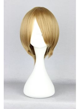 Fuji Syusuke Hairstyle Short Straight Flaxen Cosplay Wig 10 Inches