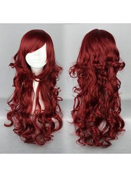 Japanese Lolita Style Dark Red Color Cosplay Wigs 26 Inches