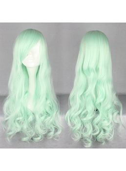 Japanese Lolita Style Long Wave Light Green Color Cosplay Wigs 28 Inches