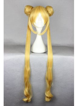 Sailor Moon Hairstyle Long Straight with Ponytails Golden Cosplay Wig 30 Inches