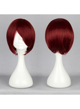 Shanks Hairstyle Short Straight Dark Red Cosplay Wig 10 Inches