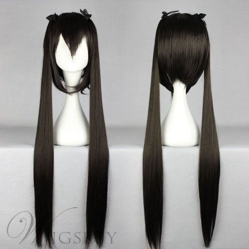 Nakano Azusa Long Straight with Ponytails Hairstyle Black Cosplay Wig 30 Inches