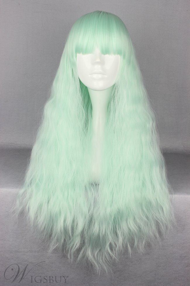 Japanese Lolita Style Ice Green Color Cosplay Wigs 28 Inches