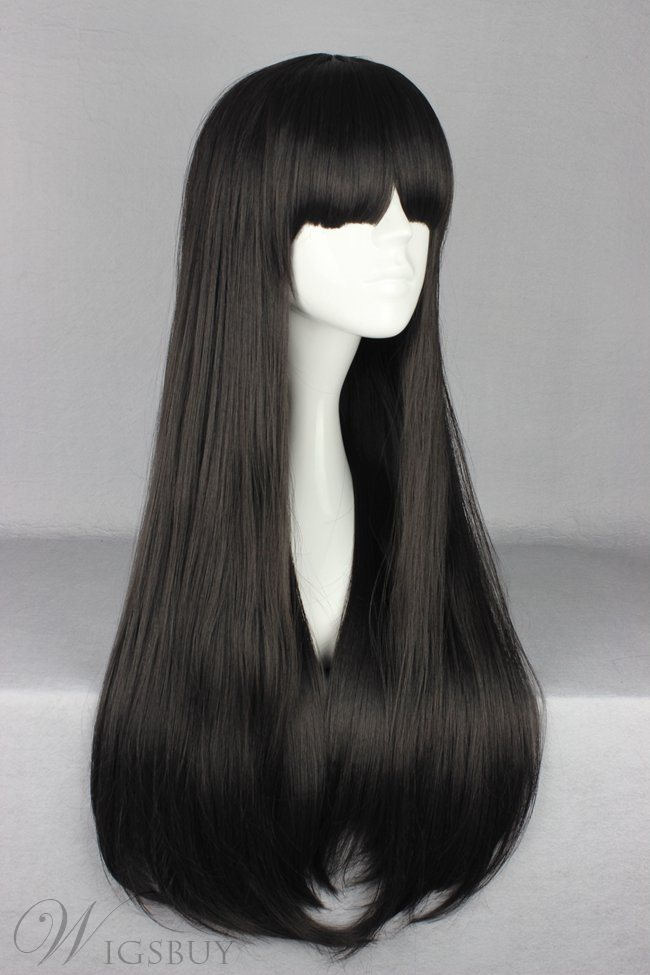 Japanese Lolita Style Long Straight Black Color Cosplay Wigs 28 Inches