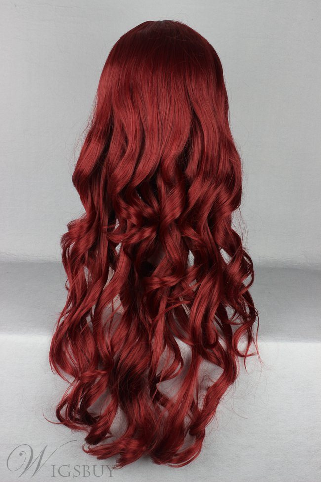 Japanese Lolita Style Long Wave Wine Red Color Cosplay Wigs 28 Inches
