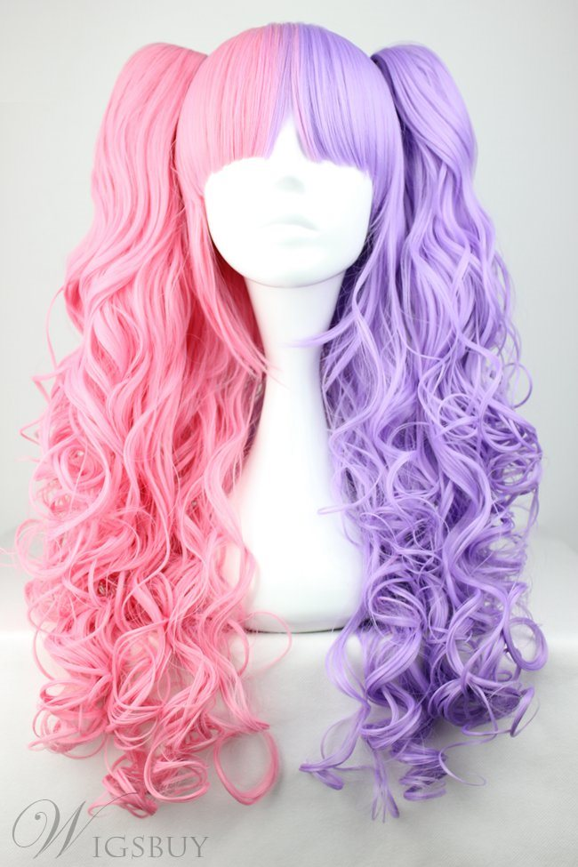 Pretty Lolita Hairstyle Long Curly Pink With Purple Mixed