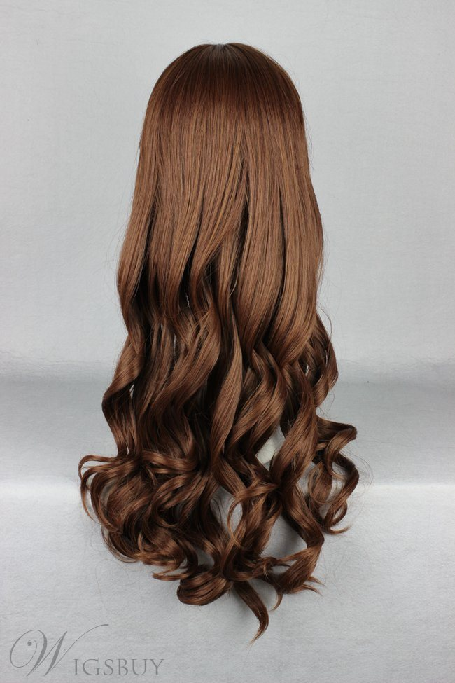 Japanese Lolita Style Brown Color Long Wave Cosplay Wigs 28 Inches