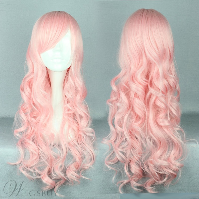 Japanese Lolita Style Long Wave Pink Color Cosplay Wigs 28
