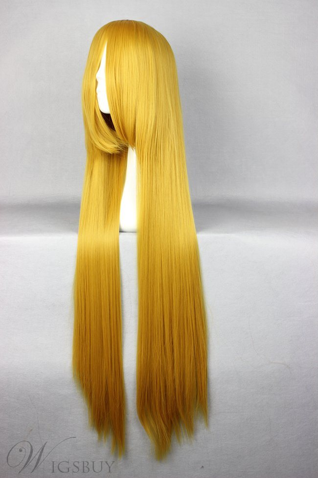 Top Quality Long Straight Golden Synthetic Cosplay Wig 30 Inches
