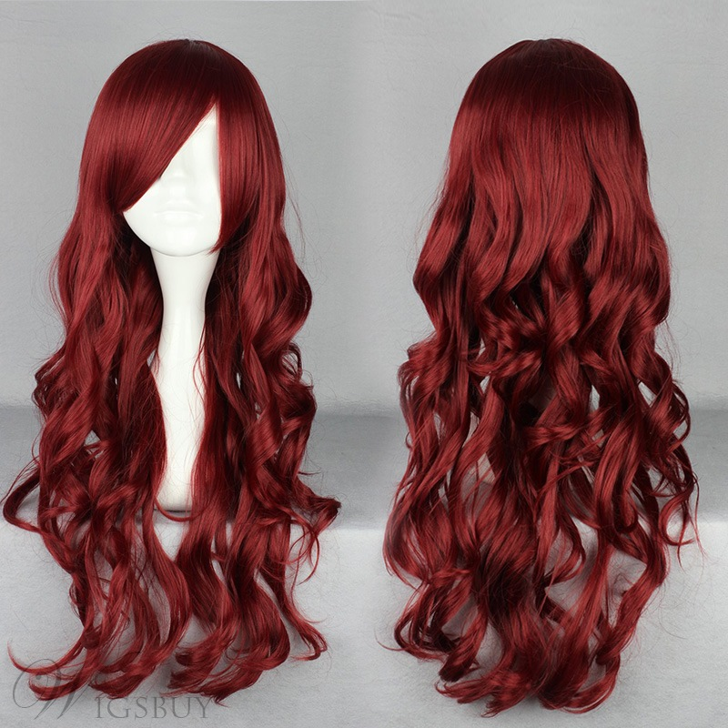 Japanese Lolita Style Long Wave Wine Red Color Cosplay