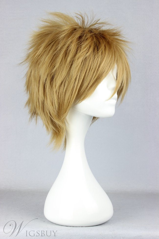 MaenoTomoaki Hairstyle Short Layered Straight Golden Cosplay Wig 12 Inches