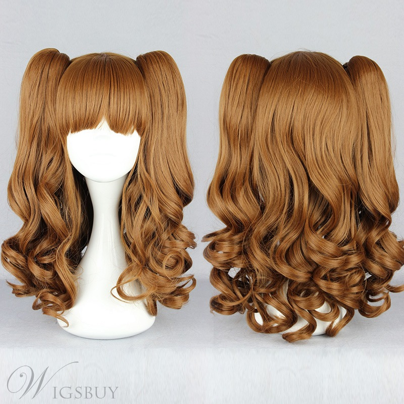 Japanese Lolita Style Brown Color Cosplay Wigs 18 Inches