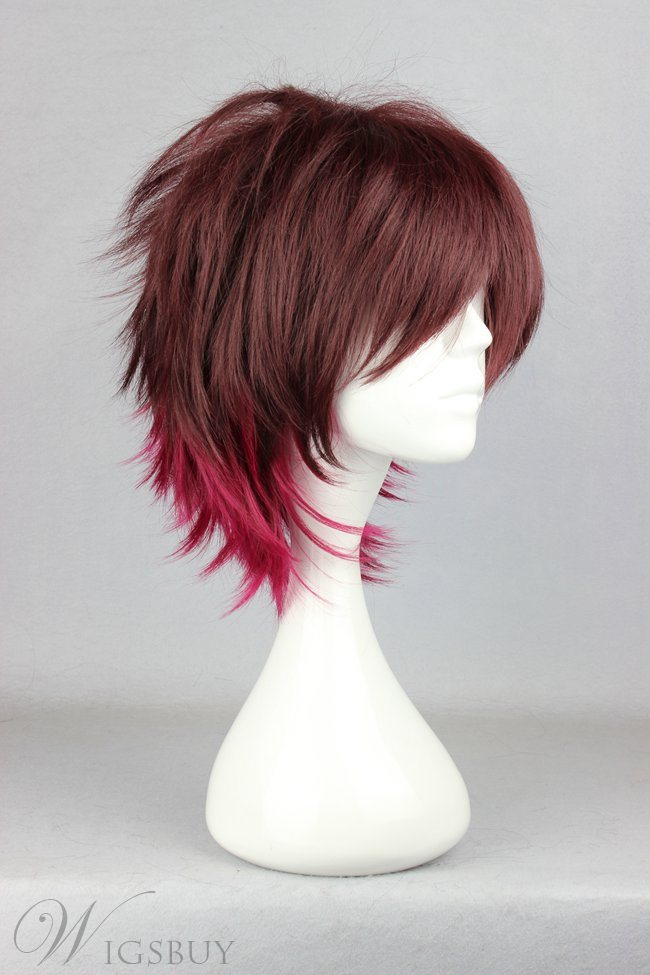 Shin Hairstyle Short Straight Gradient Cosplay Wig 12 Inches