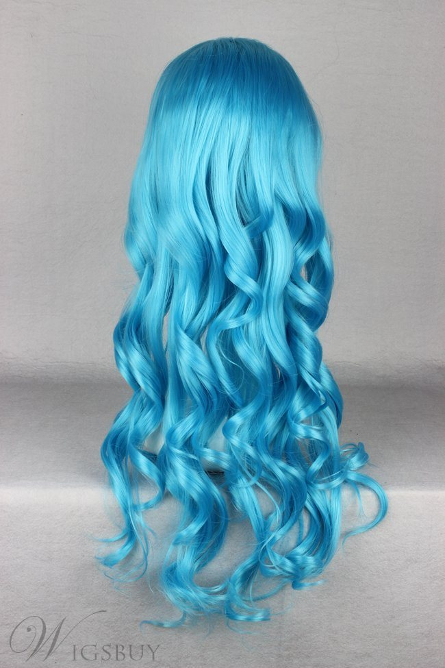 Japanese Lolita Style Long Wave Blue Color Cosplay Wigs 28 Inches