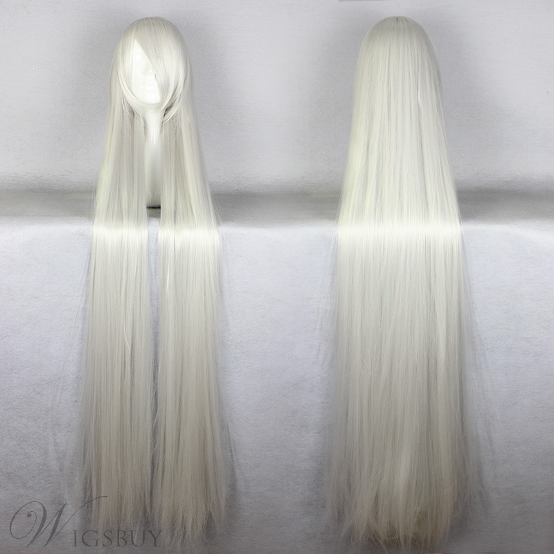 Japanese Chobits Series Long Straight Silver Color Cosplay Wigs 59 Inches