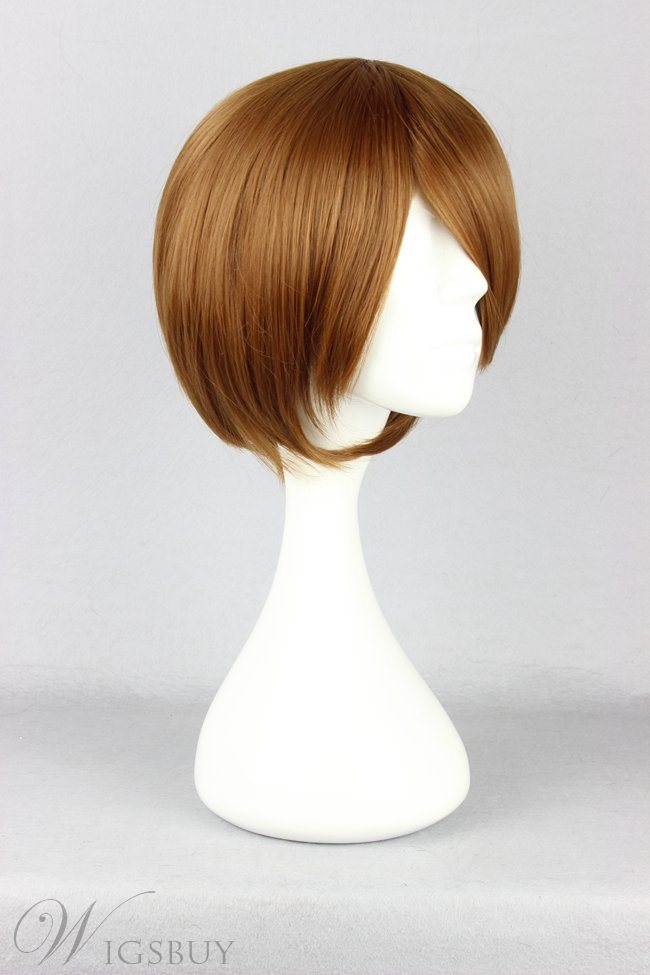 Meiko Hairstyle Short Straight Brown Cosplay Wig 10 Inches
