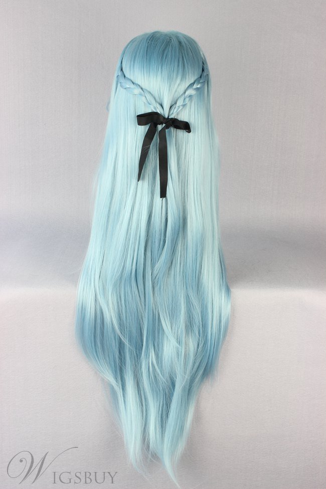 Sword Art Online Long Straight Braided Blue Synthetic Hair Cosplay Wigs 32 Inches