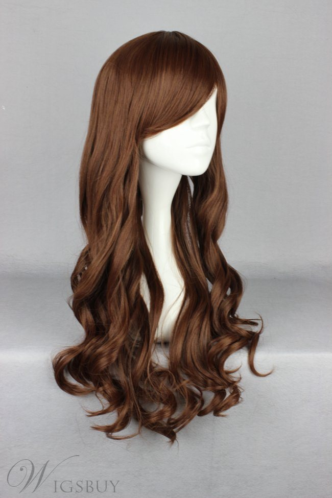 Japanese Lolita Style Brown Color Long Wave Cosplay Wigs