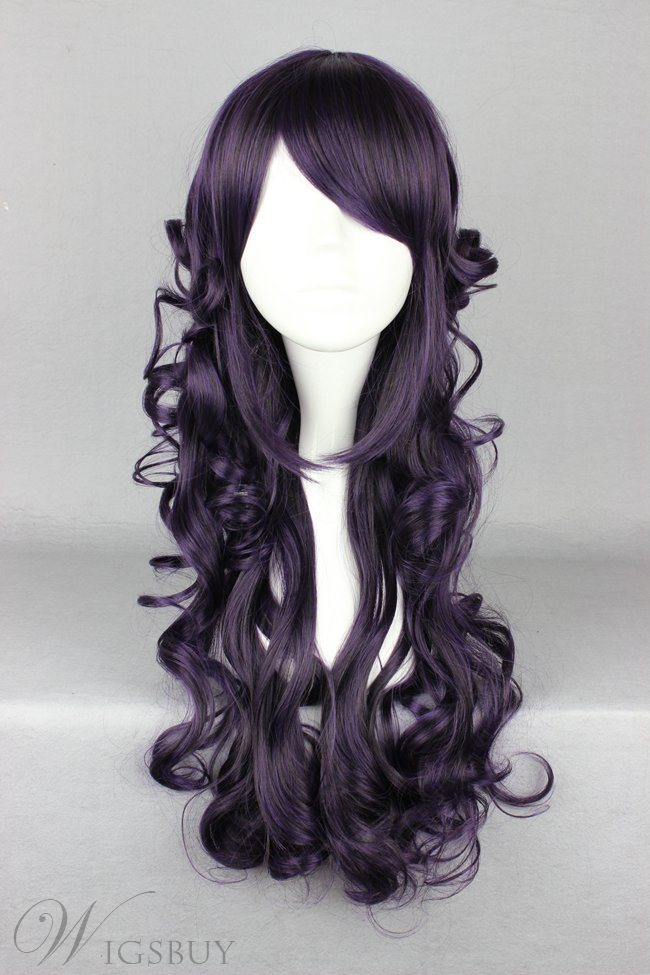 Japanese Lolita Style Long Wave Black Color Cosplay Wigs