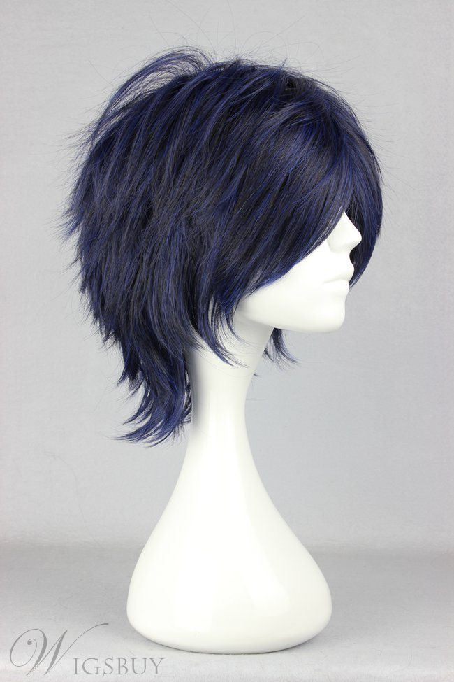 Prince of Tennis Hairstyle Short Layered Straight Navy Cosplay Wig 14 Inches