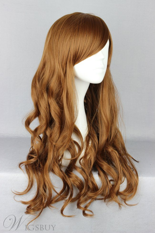 Japanese Lolita Style Long Wave Brown Color Cosplay Wigs 28 Inches