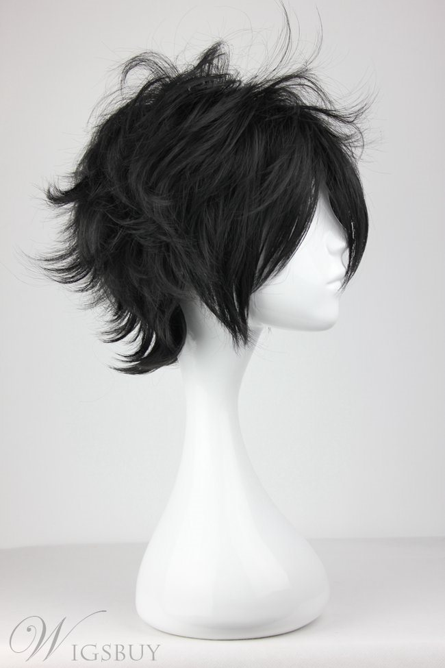 Arcana Famiglia Luca Hairstyle Short Black Synthetic Cosplay Wigs