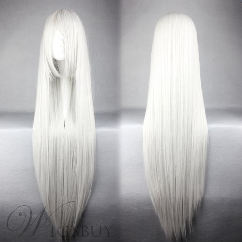 InuYasha Hairstyle Long Straight Silver Cosplay Wig 30 Inches