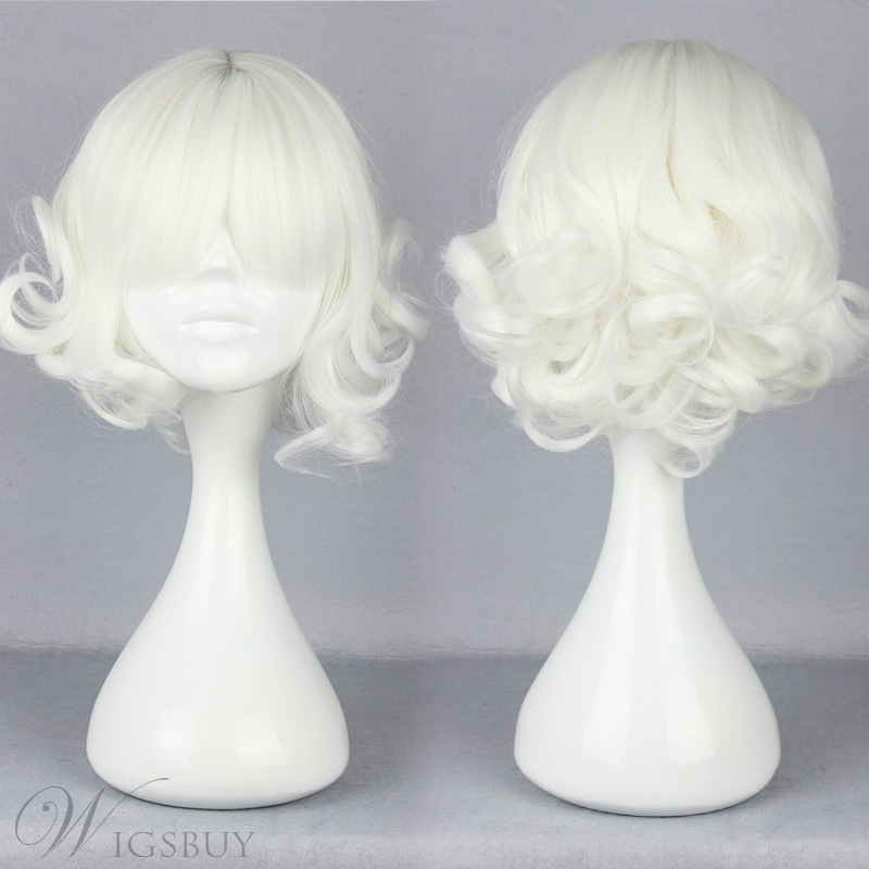 Japanese Lolita Style Short Wave White Color Cosplay Wigs