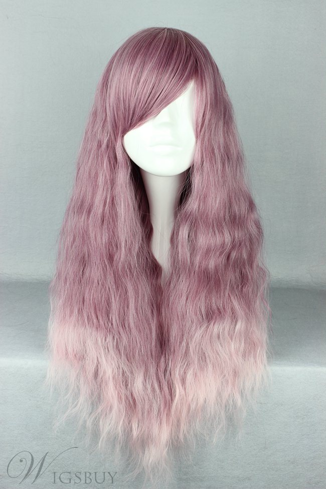 Japanese Lolita Style Mixed Color Purple and White Cosplay Wigs 28 Inches