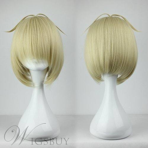Top Quality Short Straight Light Blonde Cosplay Wig 10 Inches
