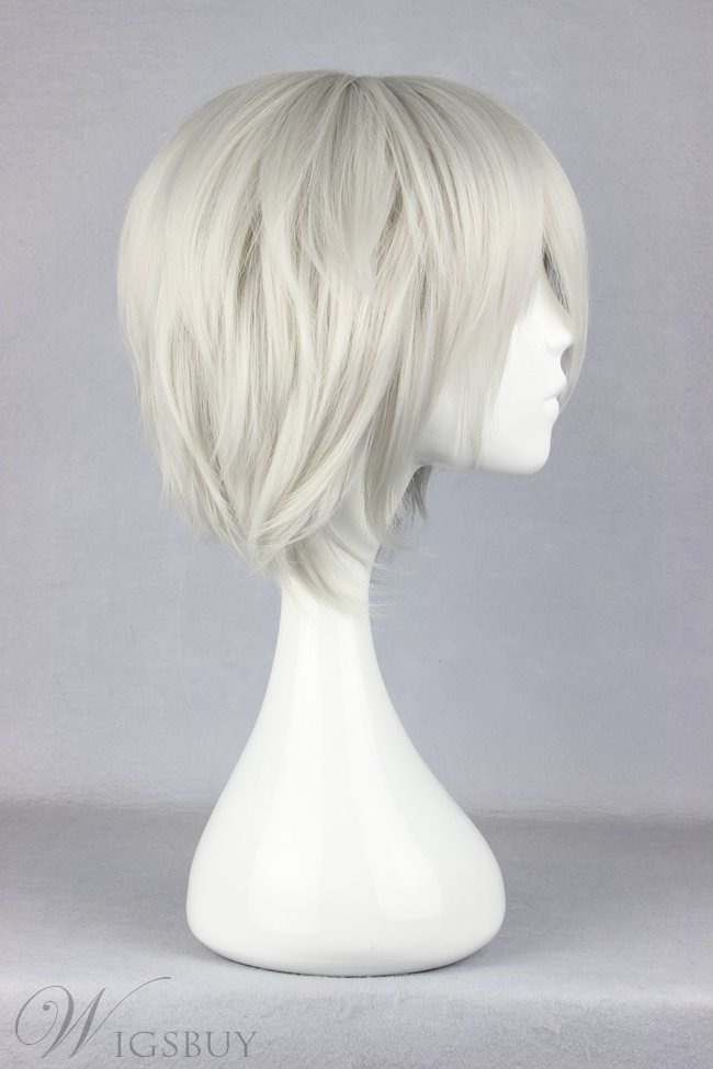 Short Straight Silver Cool Straight Synthetic Cosplay Wig