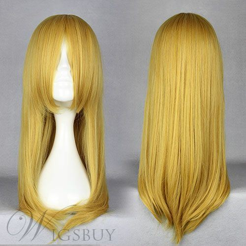 Karina Hairstyle Long Straight Golden Cosplay Wig 24 Inches