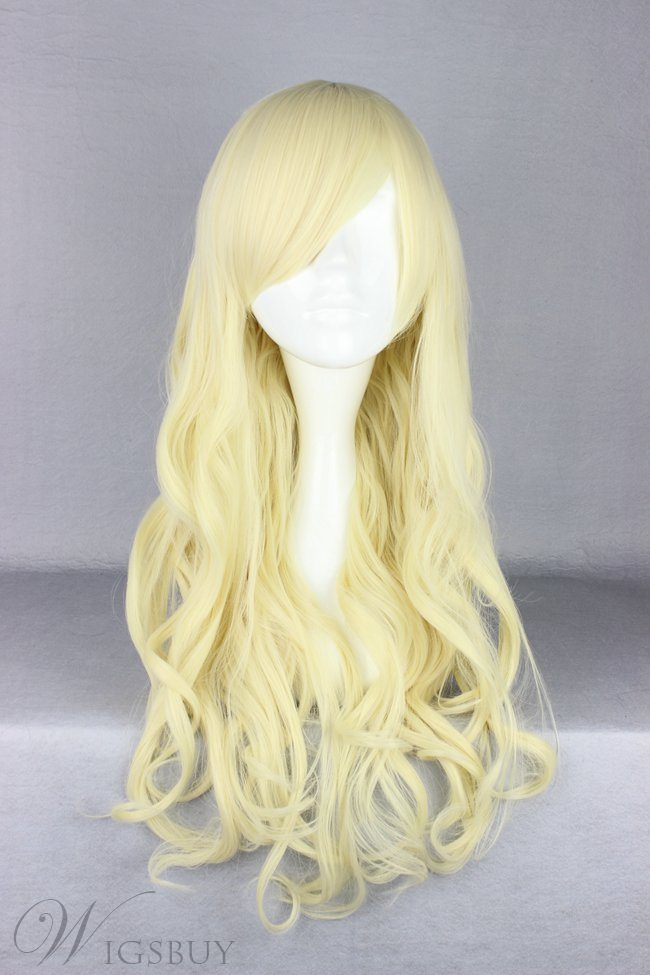 Japanese Lolita Style Long Wave Light Yellow Color Cosplay Wigs 28 Inches