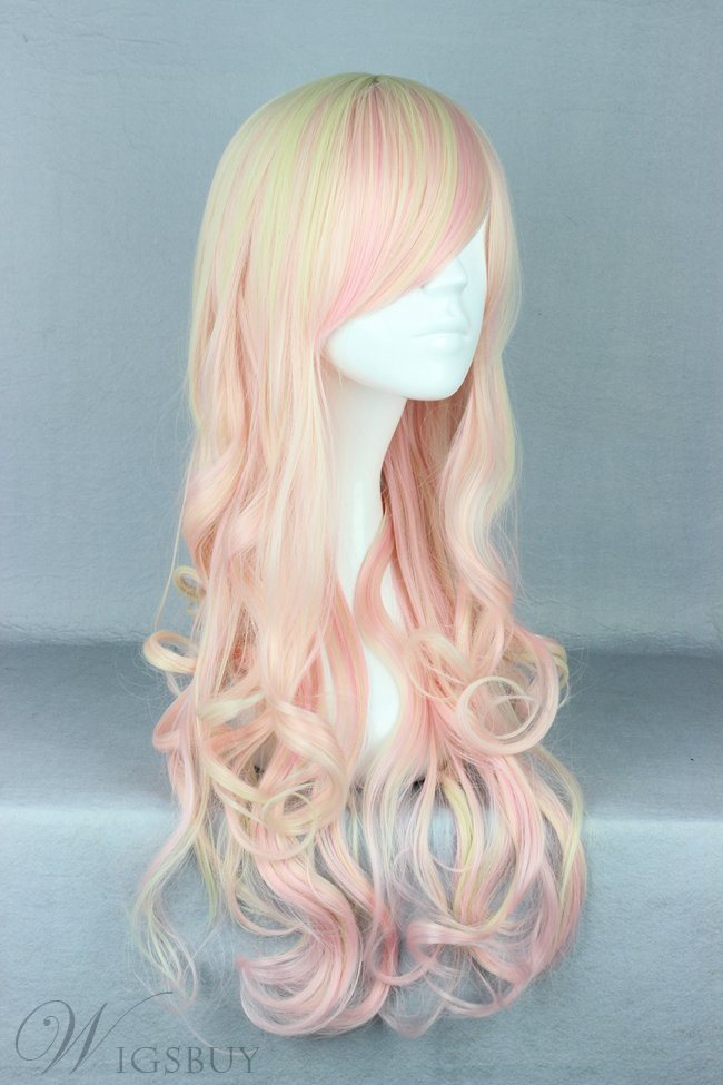 Japanese Lolita Style Mixed Color Big Wave Cosplay Wigs 28 Inches