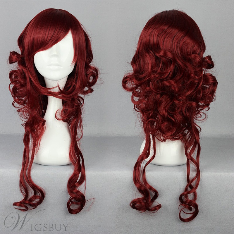 Japanese Lolita Style Long Wave Dark Red Color Cosplay