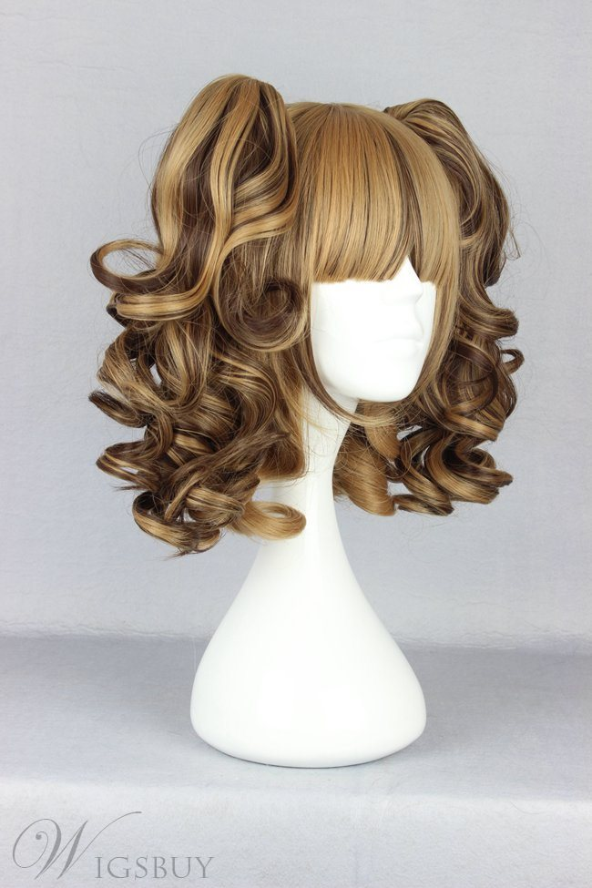 Japanese Lolita Style Middle Wave Brown Color Cosplay Wigs 14 Inches