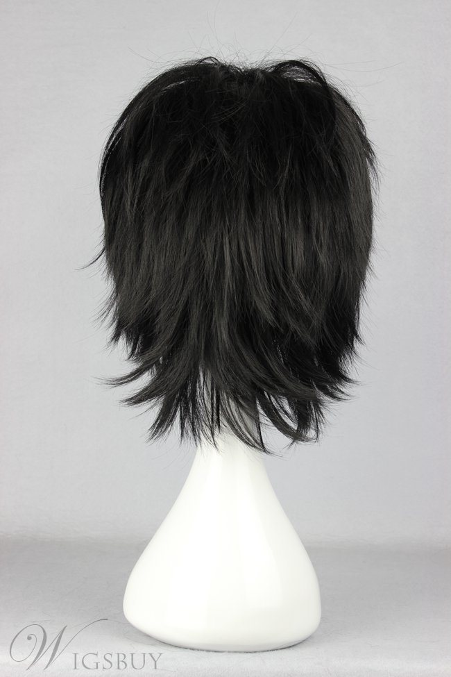 Lelouch Lamperouge Hairstyle Short Straight Black Cosplay Wig 14 Inches