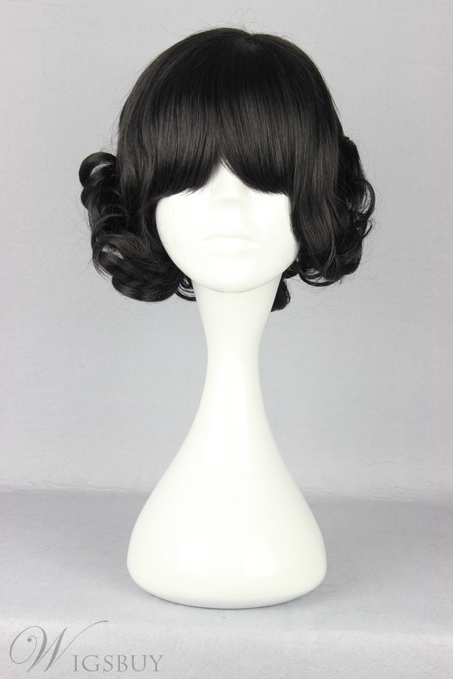 Japanese Lolita Style Black Color Short Wave Cosplay Wigs
