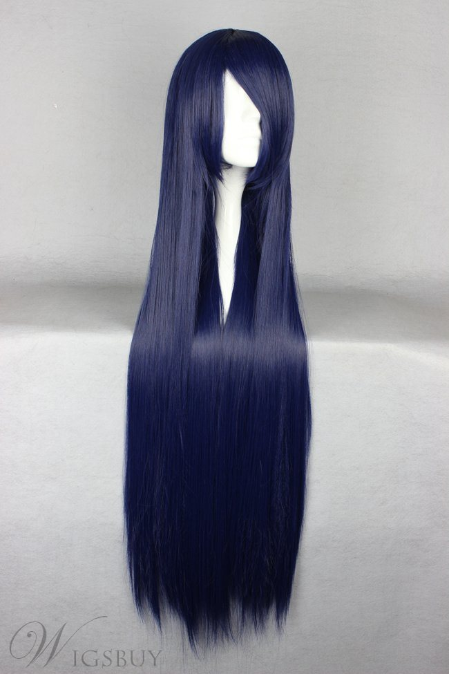 Long Straight Versatile Blue Cosplay Wig 30 Inches