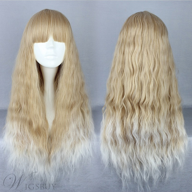 Japanese Lolita Style Long Wave Mixed Color Cosplay Wigs 28 Inches