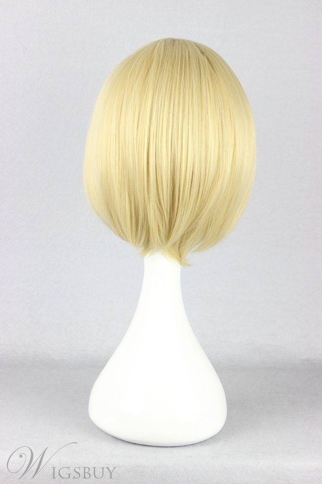 Natsume Takashi Hairstyle Short Straight Light Blonde Cosplay Wig 10 Inches