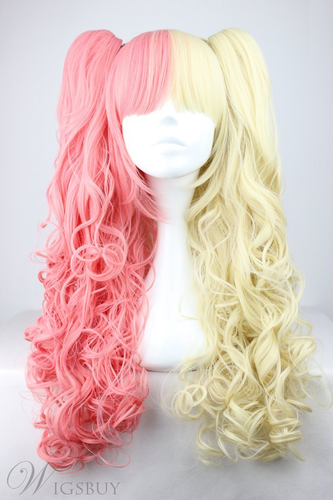 Cute Lolita Hairstyle Long Curly Red with Yellow Mixed Cosplay Wigs 28 Inches