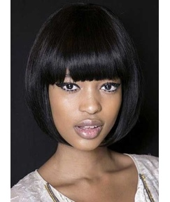 Popular Hand Made Bob Hairstyle Short Straight Capless African American Wigs 10 Inches