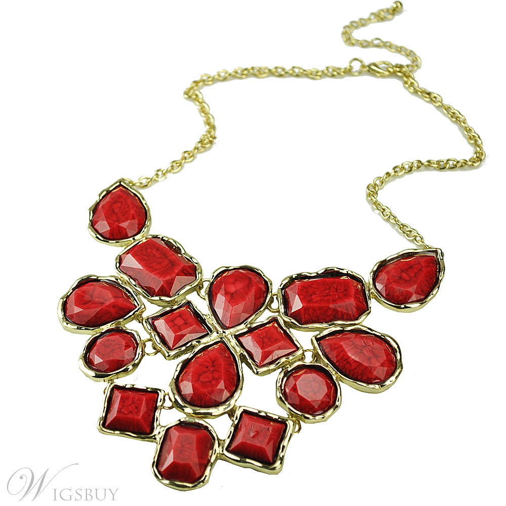 Fashion Red Color Bubble Collar Chunky Necklace Concise Bohemian Style Golden Metal Chain Necklaces for Women Jewelry