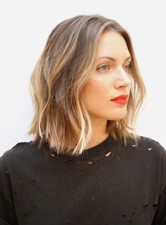 Graceful Medium Bob Loose Wave Hairstyle Lace Front Human Hair Wig 12 Inches