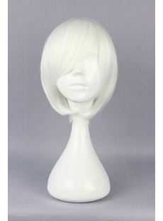 Bleach Hairstyle Short Straight White Cosplay Wig 10 Inches
