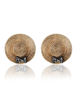Golden Small Straw Hat Earrings