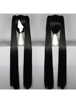 Miku Hairstyle Long Straight Black Cosplay Wig